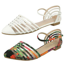 LADIES SPOT ON BUCKLE FASTENING ANKLE STRAP FLAT CASUAL SANDALS SHOES F8R0160