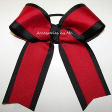 Red Black Ponytail Holder Ribbon Bow 6 Inch Volleyball Softball Cheerlead School