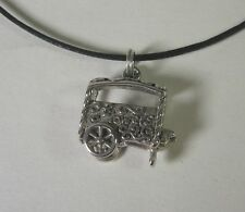 Flower Cart Charm Pendant Necklace .925 Sterling Silver USA Made Floral Shopping