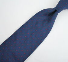 "Calabrese Men's Tie fine Patterned Silk Hand Sewn 61"" long Navy Blue Red"