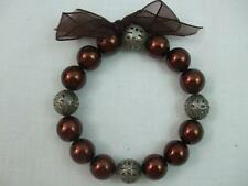 Stretch Bracelet Round Bronze Color Beads with Antique Silver Large Spacers Bow