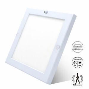 18W LED Ceiling Light Square Panel PIR Motion+Light Sensor 240V Ultraslim Lamp