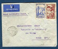 Côte d ' Ivoire - Enveloppe de Abidjan pour Paris en 1938 via Dakar  réf N 41
