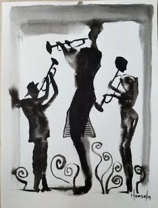 Musician. india ink surrealism abstract.  Modern Impressionism Original