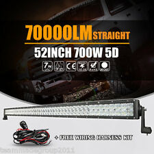 "5D+ CREE 700W 52"" 54INCH LED Light Bar Work Spot Flood Combo Beam SUV 7W Tractor"