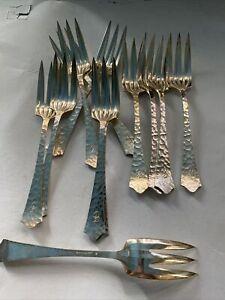 12 pcs JOS HEINRICHS Hammered Silverplate Demitasse Forks