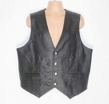Men's Vintage JOHN F. GEE Fitted Biker Black Real Leather Waistcoat Vest XL 2XL