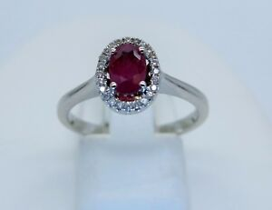 9ct white gold ruby and diamond cluster ring Ruby weight 0.55ct L1/2