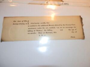 #7672, Early 1800's Bounty to Kill Wolves Ravenna Ohio