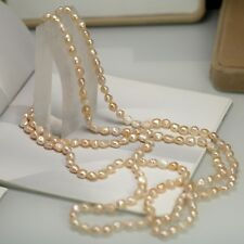 Collier Sautoir Long Perle de Culture Baroque Irregulier Rose 160cm TZ1