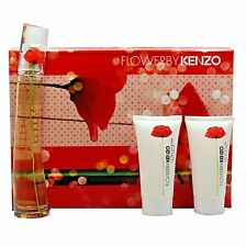 KENZO FLOWER 3 PIECE GIFT SET EAU DE PARFUM NATURAL SPRAY 50ML NIB-K85410010