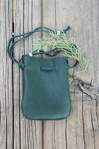 Green leather pouch , Leather drawsrting pouch , Medicine bag