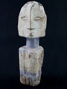 Art Africain Tribal Arte Africa - Ancien Poteau Rituel Statue Adan Ada - 37 Cms