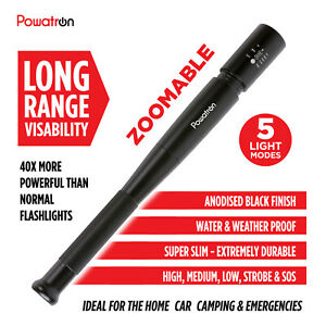 31//41//49cm MC Baseball Bat Flashlight Baton Torch Safety Emergency Lamp Light UK