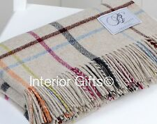 BRONTE Lambswool Beige MULTI CHECK Windowpane THROW Blanket Rug Pure New Wool