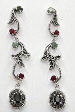 Saphir  Ohrstecker  Saphir Smaragd Rubin & Markasiten 925 Sterling Silber