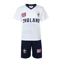 BOYS FOOTBALL KIT SHORT SET ENGLAND WHITE/NAVY 2-13years BNWT #ENGLAND