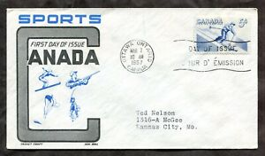 p232 - Canada 1957 FDC Cover - Sports Skiing - Cachet by Ken Boll