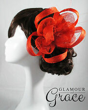 Charlie orange fascinator headpiece hat wedding bridal races clip Melbourne Cup