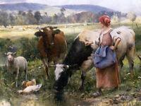 "Art Oil painting Julien Dupre - Working on the Farm woman & cows sheep ducks 36"""