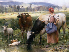 Art Oil painting Julien Dupre - Working on the Farm woman & cows sheep ducks