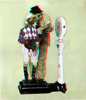 Weigh In Jockey Scale Horse Norman Rockwell Saturday Evening Post 3D Anaglyph