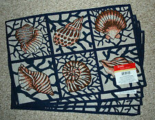 4 SEASHELL TAPESTRY PLACEMATS/BEACH/SUMMER/SEASIDE/NAVY/CREAM/TANS/BROWN NWT