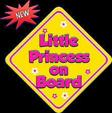 Little Princess on Board Baby on Board Car Sign Non Personalised Yellow & HP