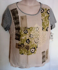 Style & Co. Patchwork Tee Shirt Short Sleeve Beige Size Plus 1X NWT Free US Ship