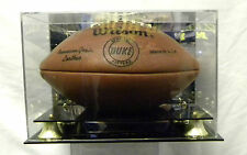 Football Display case for autographed footballs Acrylic Gold Risers and Mirror