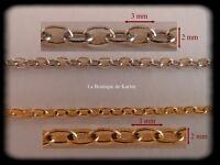 5 M DE CHAINE METAL ARGENTE ET/OU METAL DORE 3 x 2 mm - CREATION BIJOUX PERLES