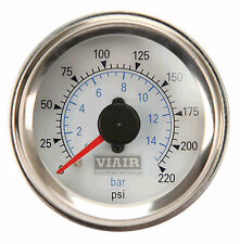 "VIAIR 90081 Air Pressure 2"" 220psi GAUGE METER DUAL NEEDLE WHITE FACE Air Ride"