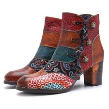 Women Floral Splicing Zipper Leather Buckle High Chunky Block Heel Boots