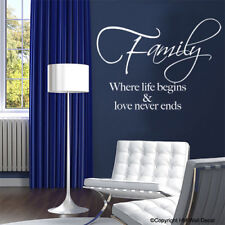' Family Where Life Begins Love Never Ends' White Wall Sticker Home Decor Decals