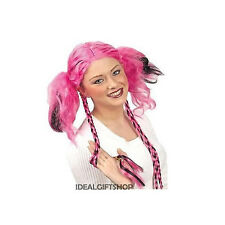 PLAIT & BUNCHES PINK BLACK WIG SCHOOLGIRL REBEL PUNK ST.TRINIANS TEEN 80s LADIES