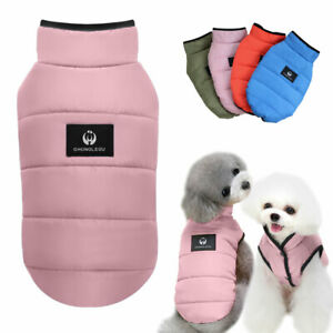 Warm Dog Clothes Winter Pet Cotton Coat Fleece Lined Padded Vest Jacket S-XXL