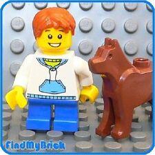 M208 Lego City House Boy with Blue Legs & Dog 8403 NEW
