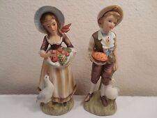 "Vintage Pair Lefton Bisque Porcelain Country Boy & Girl Figurines #6988 ~ 7 5/8"""