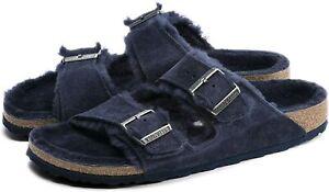 Men Birkenstock Arizona Shearling Adjustable Slide Sandals Fur Lining NEW