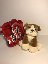 New listing Keel Toys Bulldog Dog Plush Union Jack Bag Carrying Case Soft Toy Stuffed Animal