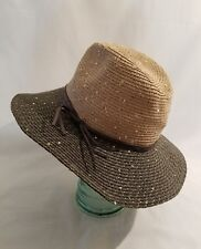 Anthropologie Madison 88 Metallic Sequin Woven Tan   Black Fedora Sun Hat  New f7cf2d3a7681