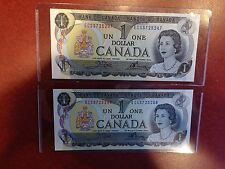 2 of 1973 Canada,$1 One Dollar Banknotes,Crow-Bouey,Prefix *ECS*,Consecutive No.