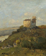 Landschaft mit Burgruine am Fluss (Donau?) Signiert. Wachau?