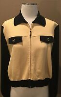 ST. JOHN COLLECTION MARIE GRAY S M JACKET CARDIGAN YELLOW BLACK ZIP FRONT