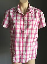 NWOT Ladies Stud Button Pink & White Check Short Sleeve Shirt Size 12