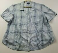 Pendleton Women's Short Sleeve Button Up Shirt 2X Plus Blue White Plaid Casual