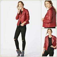 New Ladies Red Wind Embellished Faux Leather Biker Jacket M