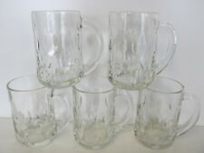 SET OF 5 CLEAR ANCHOR HOCKING CUT OLIVE PATTERN 13-oz GLASS MUGS