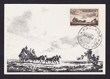 1955 Pioneers of Coaching 3.5d Sepia predecimal stamp on postcard presentation