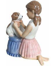Royal Copenhagen Girl Tying Bow on Dog Nib 249363 New In Box Girl with Dog